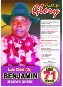 Chief Been Oheri for burial April 10th