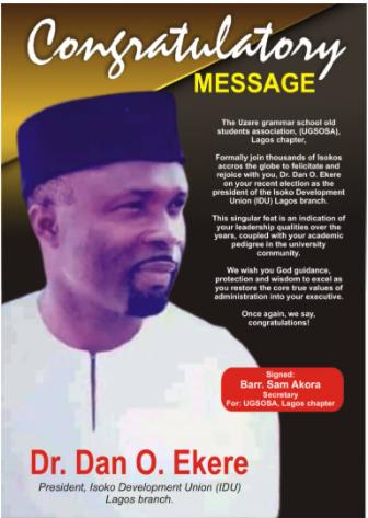 UGSOSA rejoice with their member, Dan Ekere on his election as president IDU, Lagos