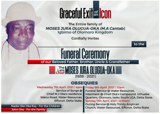 Late Chief M.J. Oka for burial April 9th.